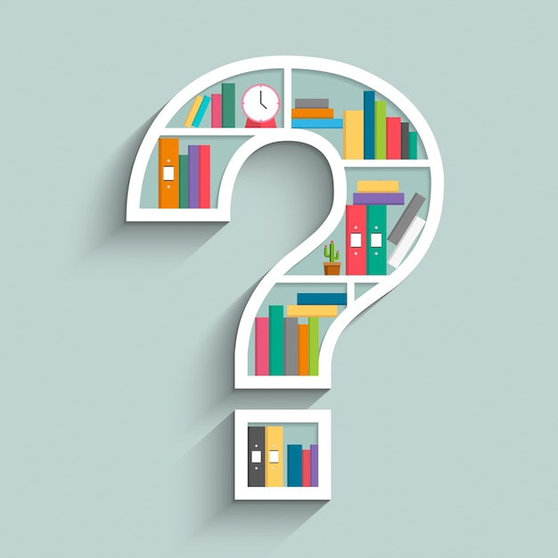 Bookshelf in form of question mark with colorful books Premium Vector