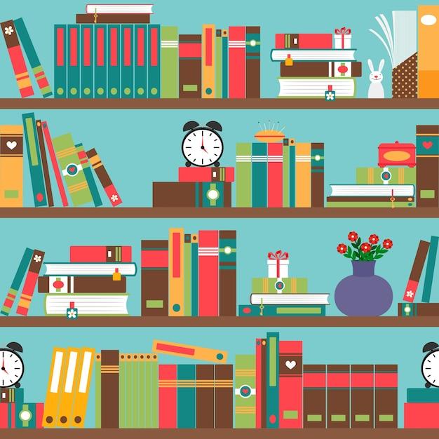 Scaffale con libri in stile piatto Vettore gratuito