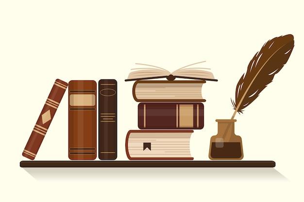 古いまたは歴史的な茶色の本とガチョウの羽が付いているインクつぼの本棚。図。 Premiumベクター