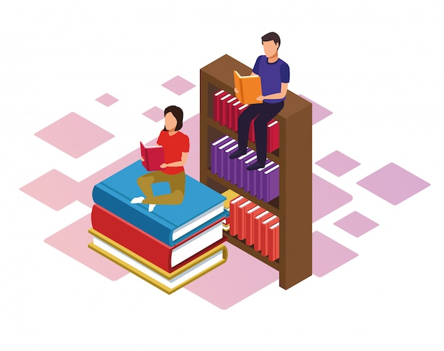 Bookshelf and woman and man reading books over white background, colorful isometric Premium Vector