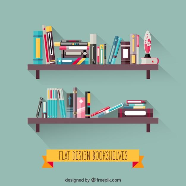 Bookshelves in flat design Free Vector