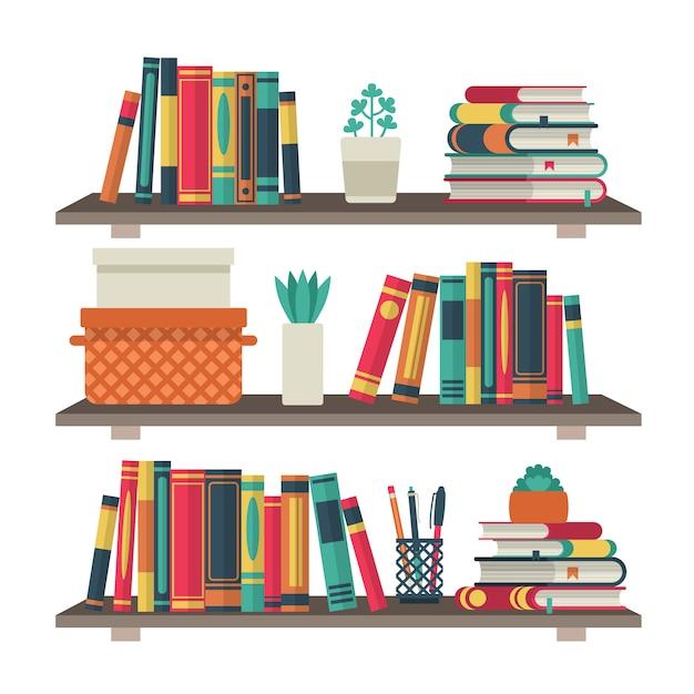 책장. 방 도서관에서 선반 책, 독서 책 사무실 선반 벽 인테리어 연구 학교 책장 배경 프리미엄 벡터