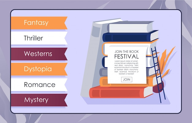 Bookshop online app mockup invite to bookfest Premiumベクター