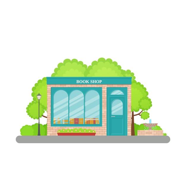 書店の正面。 。書店のファサード、店頭。漫画店の前。フラットの窓と小売書店の建物。エクステリアライブラリーハウス。ストリートアーキテクチャ。図。 Premiumベクター