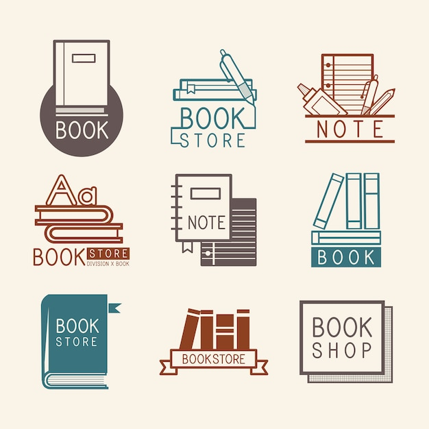 Bookstore logos and sign set vector Free Vector