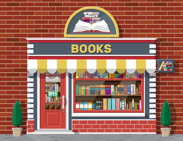 書店店の外観。本屋のれんが造りの建物。教育または図書館市場。棚のショーウィンドウの本。ストリートショップ、モール、マーケット、ブティックファサード。ベクトルフラットスタイルのイラスト。 Premiumベクター