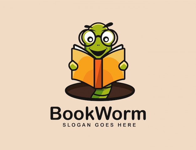 Bookworm logo mascot Premium Vector