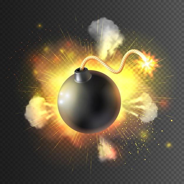 Boom bomb exploding festive poster print Vettore gratuito