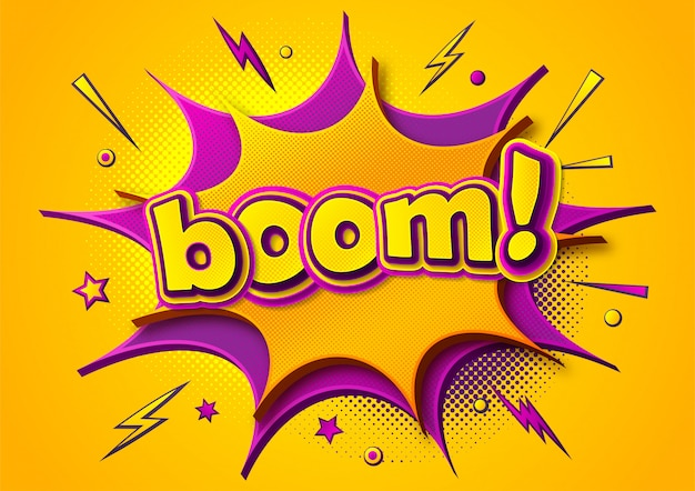 Boom comics poster. cartoonish thought bubbles and sound effects. yellow-purple banner in pop art style Premium Vector