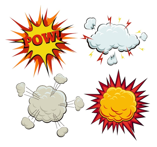 Boom, explosion and pow set in comic style Free Vector