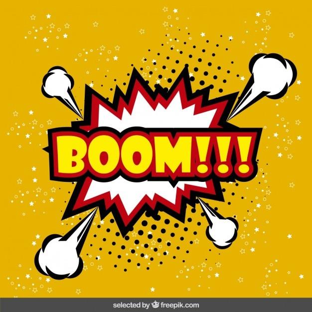 Boom speech balloon in pop art style Free Vector