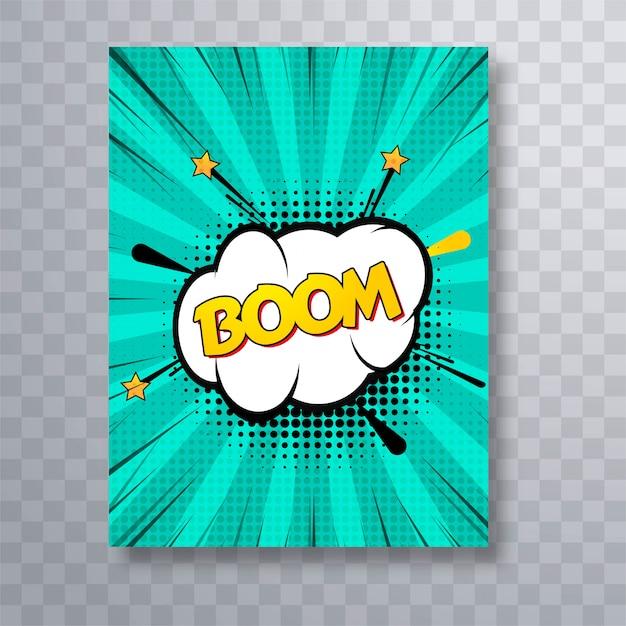 Boom text comic book colorful pop art brochure Free Vector