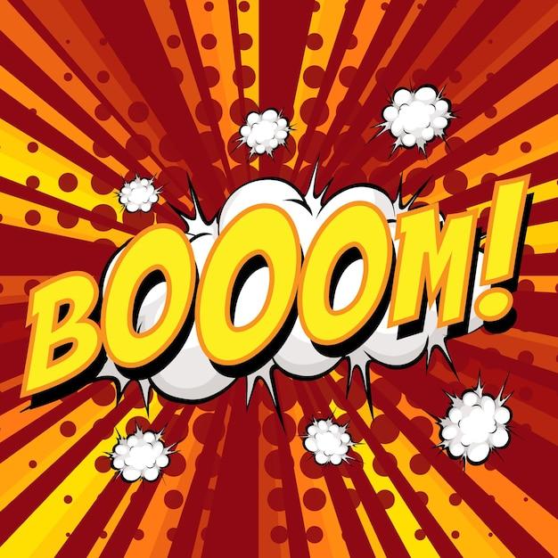 Bolla di discorso comico di formulazione boom su burst Vettore gratuito