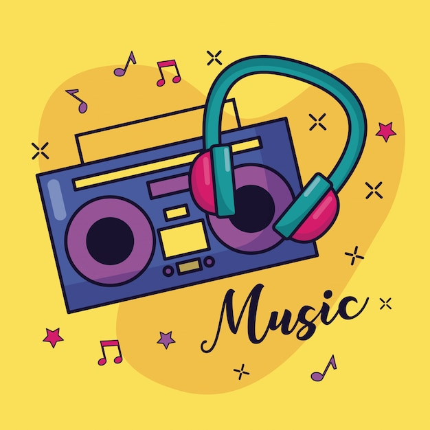 Boombox and headphones music colorful illustration Free Vector