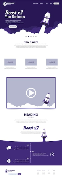 Boost business website landing page vector template Premium Vector