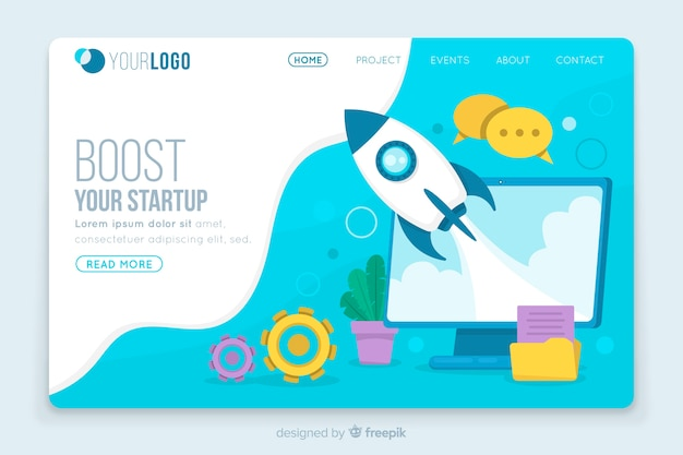 Boost startup landing page template Free Vector
