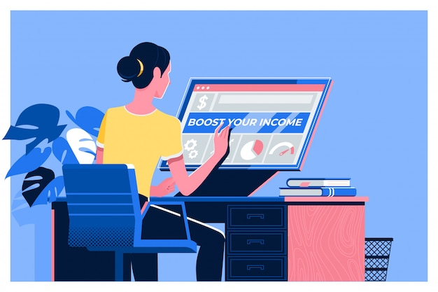 Boost your income text with woman using a laptop Premium Vector