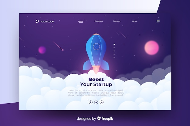 Boost your startup landing page with rocket Free Vector