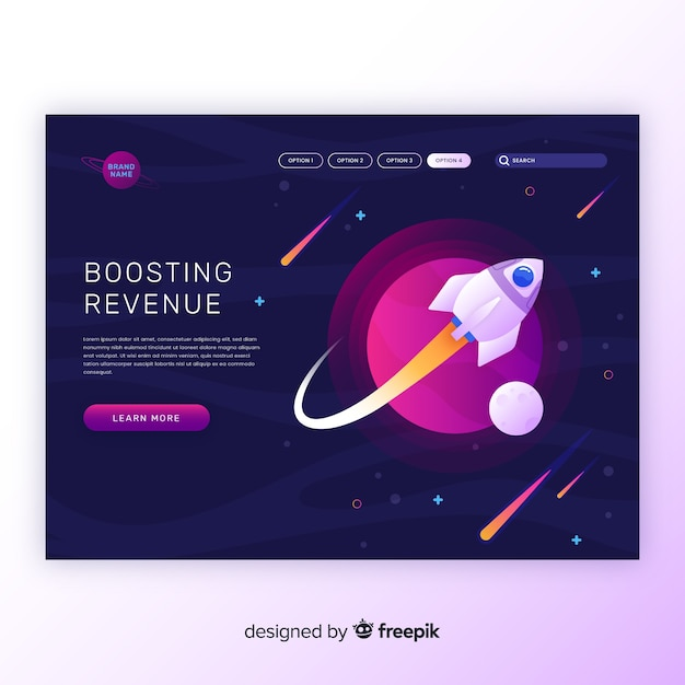 Boosting revenue rocket landing page Free Vector