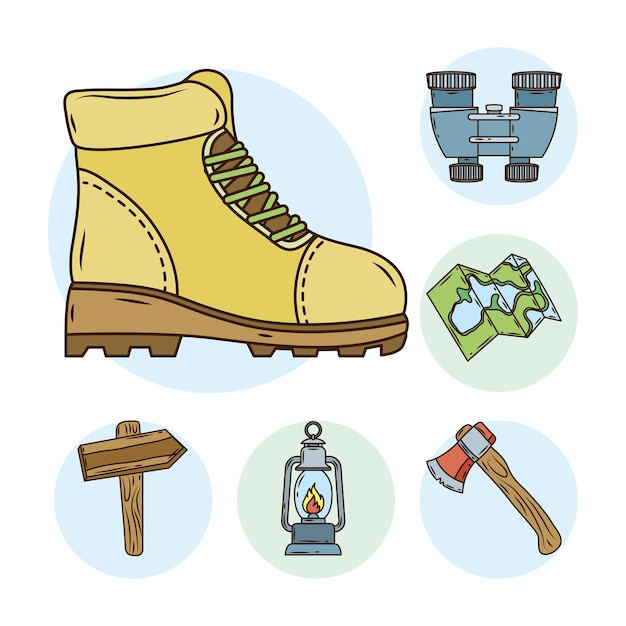 Boot with bundle of camping set line and fill icons Premium Vector