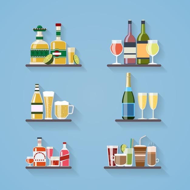 フラットスタイルに設定されたバーのトレイで酒や飲み物 無料ベクター