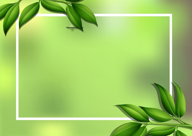 Border background with green leaves Free Vector
