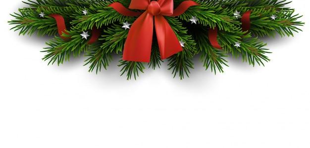 Border of christmas tree branches Premium Vector