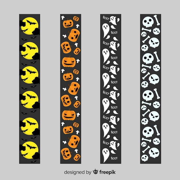 Border collection with halloween elements Free Vector