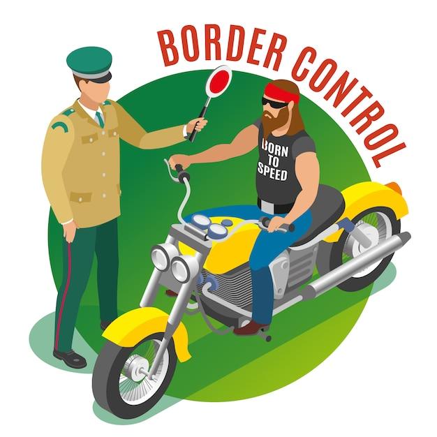 국경 통제 그림 무료 벡터