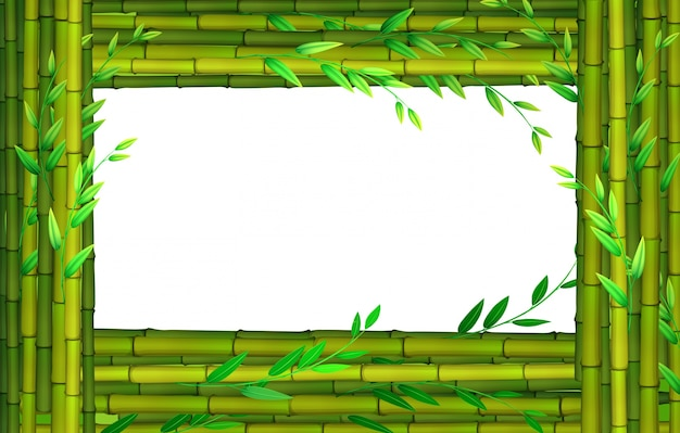 border design with bamboo sticks free vector