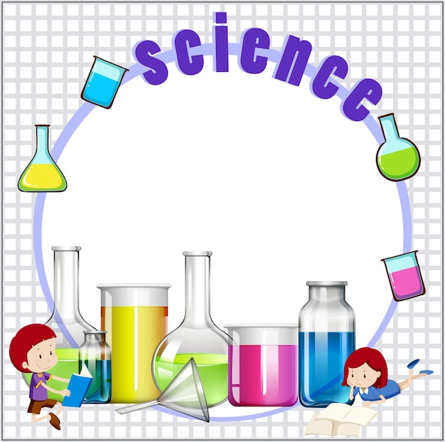 Science Laboratory Background Design: Border Design With Children And Science Equipments Vector