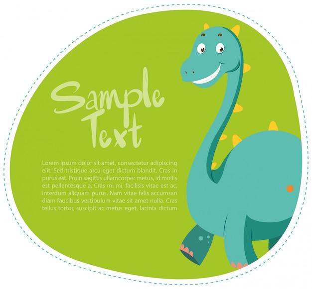 かわいい恐竜とボーダーデザイン 無料ベクター
