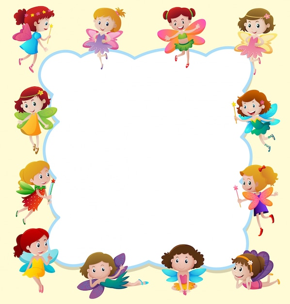 Border Design Disney Character : Border design with cute fairies flying vector premium