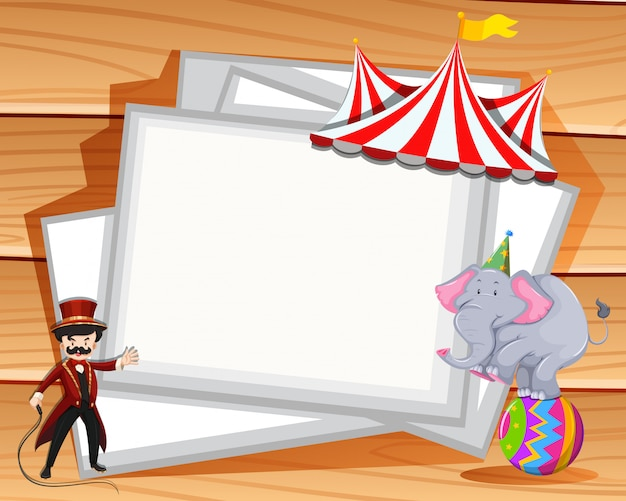 Border design with elephant show at circus Free Vector