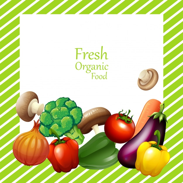Border design with fresh vegetables Free Vector
