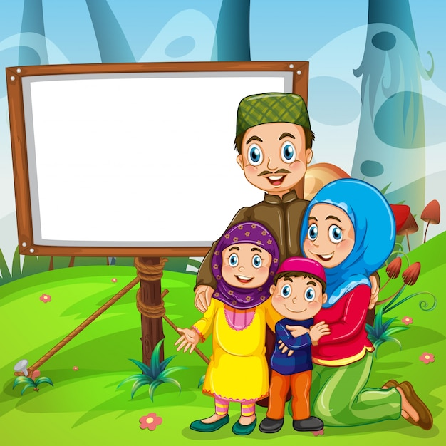 Border design with muslim family Free Vector