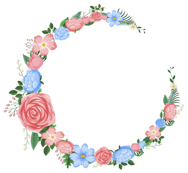 Border design with pink and blue flowers vector premium download border design with pink and blue flowers premium vector altavistaventures Images