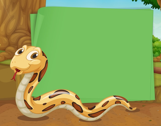 Border design with snake crawling Free Vector