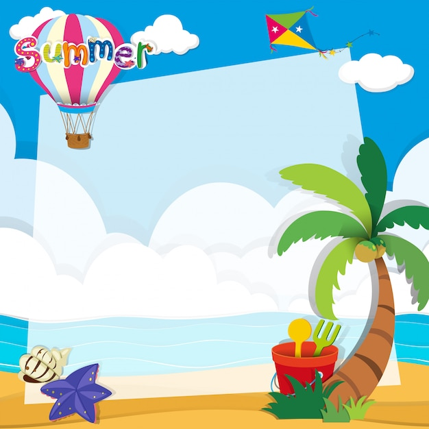 Border design with summer theme Free Vector
