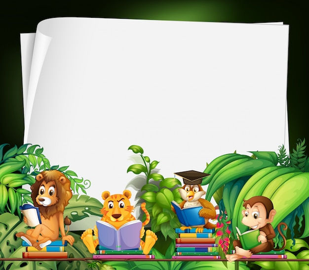 Border design with wild animals reading books