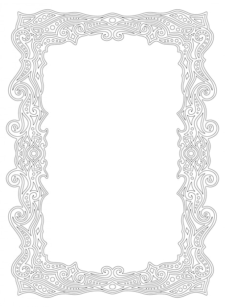 Border frame for coloring book page with linear ornament Premium Vector