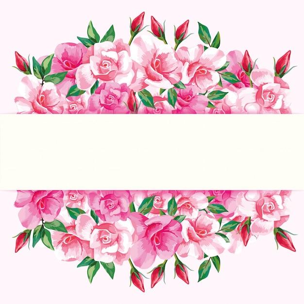 Border of roses Premium Vector