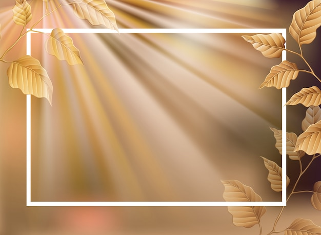 Border template background with brown leaves Free Vector