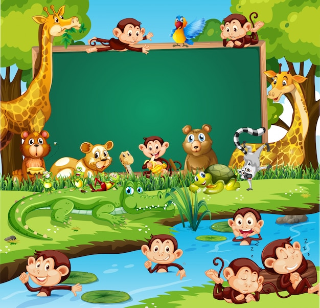 Border template design with cute animals in forest Free Vector