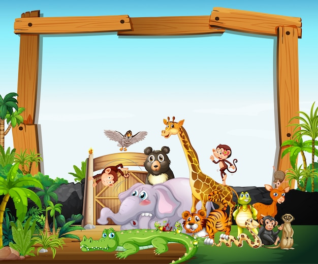 Border template design with cute animals Free Vector