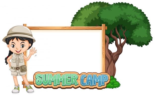 Progettazione del modello del confine con la ragazza al campeggio estivo Vettore gratuito