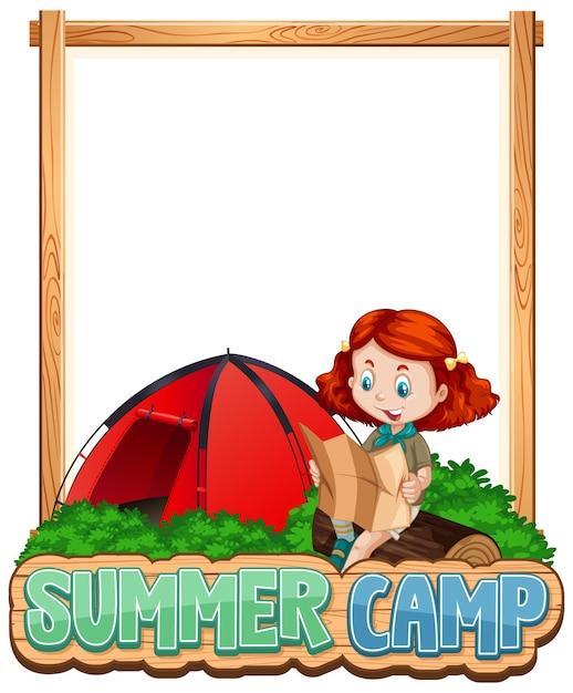 Disegno del modello di confine con la ragazza al campo estivo Vettore gratuito