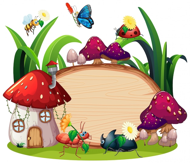 Free Vector | Border template design with insects in the ...