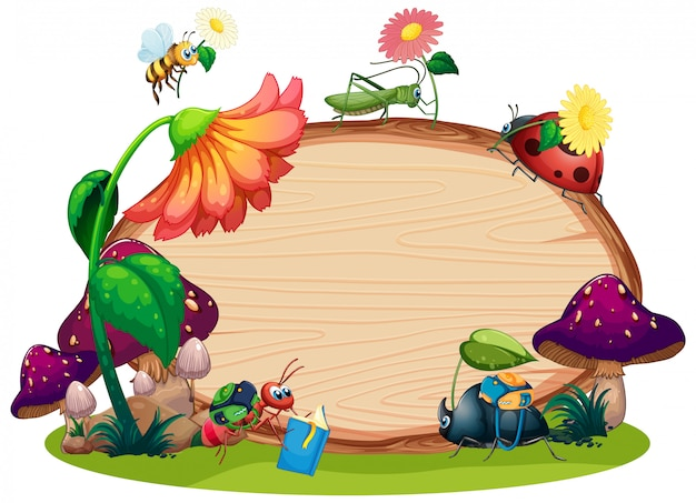 Border template design with insects in the garden ...