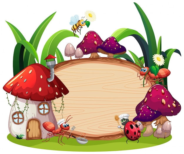 Border template design with insects in the garden background Free Vector